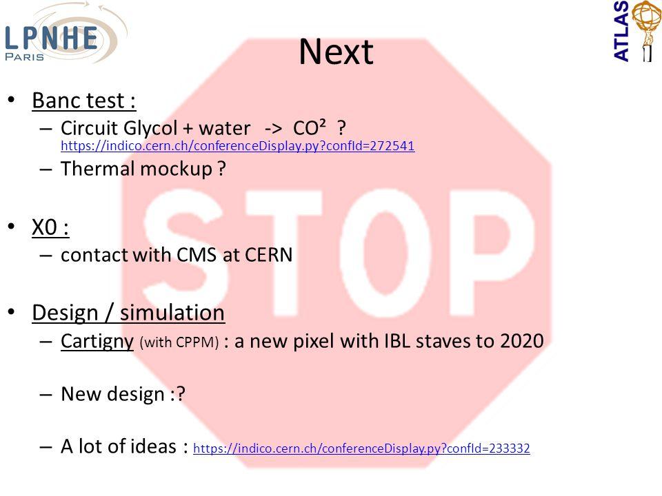 Banc test : – Circuit Glycol + water -> CO² .