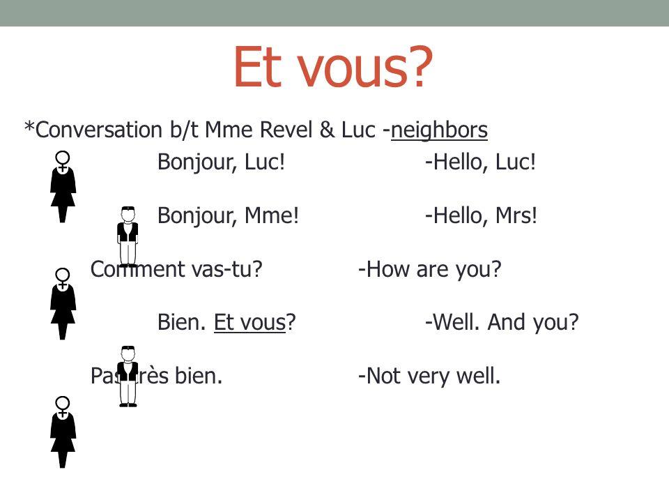 Et vous. *Conversation b/t Mme Revel & Luc -neighbors Bonjour, Luc!-Hello, Luc.