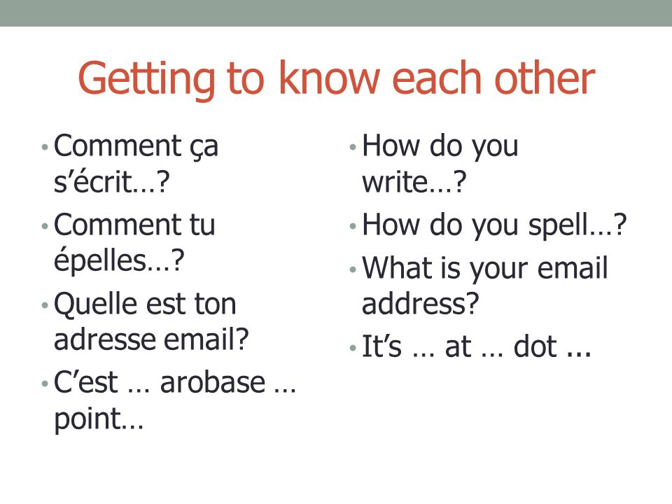 Getting to know each other Comment ça s'écrit…? Comment tu épelles…? Quelle est ton adresse email? C'est … arobase … point… How do you write…? How do