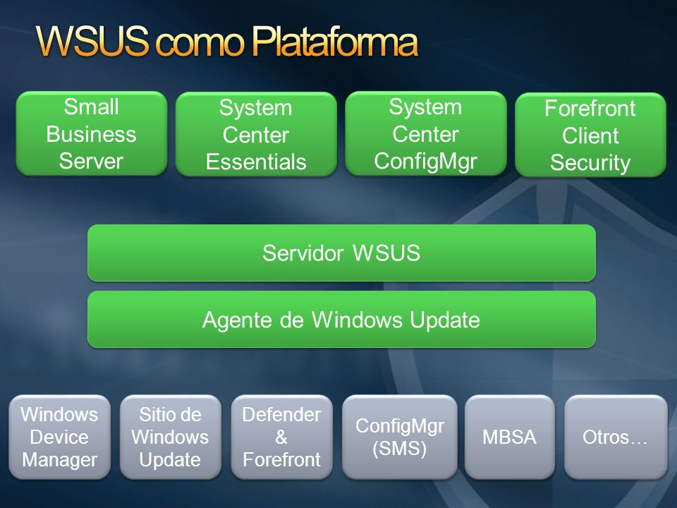 Servidor WSUS Agente de Windows Update Small Business Server Windows Device Manager MBSA ConfigMgr (SMS) Defender & Forefront Sitio de Windows Update System Center Essentials System Center ConfigMgr Forefront Client Security Otros…
