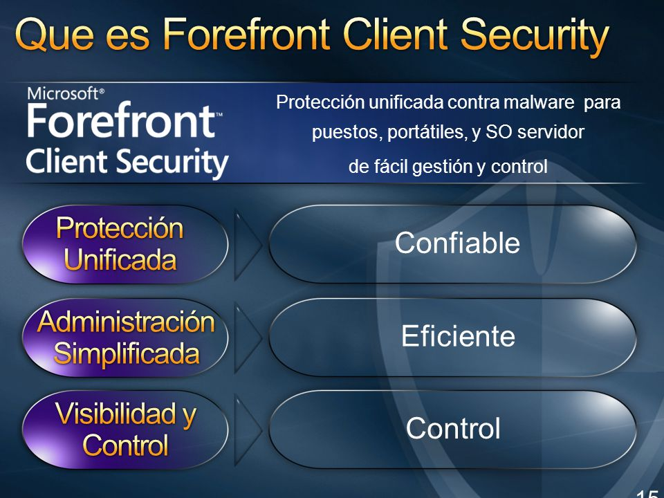 Protección unificada contra malware para puestos, portátiles, y SO servidor de fácil gestión y control 15 Confiable Eficiente Control