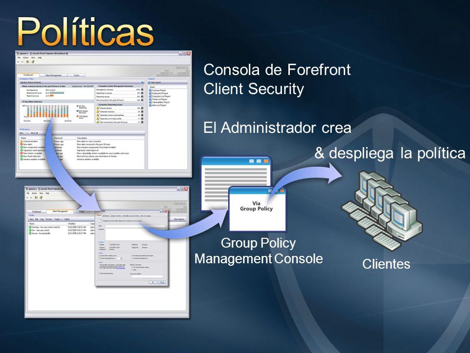 Consola de Forefront Client Security El Administrador crea & despliega la política Group Policy Management Console Clientes