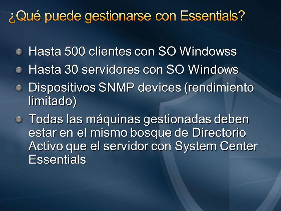 Hasta 500 clientes con SO Windowss Hasta 30 servidores con SO Windows Dispositivos SNMP devices (rendimiento limitado) Todas las máquinas gestionadas deben estar en el mismo bosque de Directorio Activo que el servidor con System Center Essentials