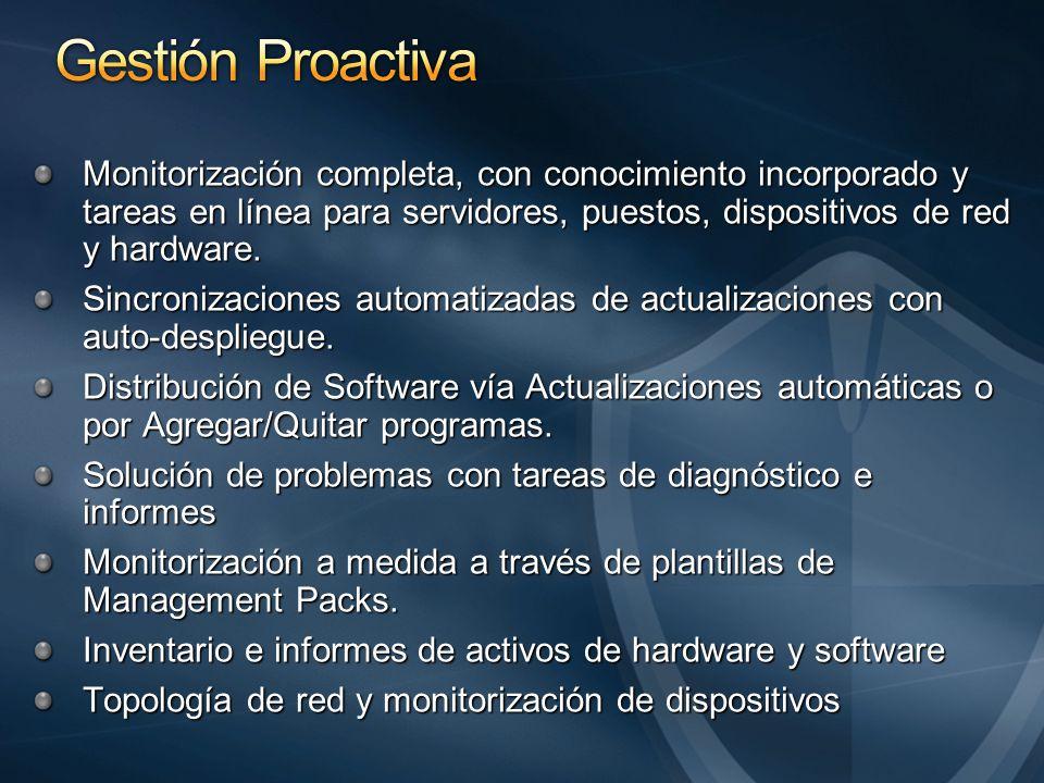 Monitorización completa, con conocimiento incorporado y tareas en línea para servidores, puestos, dispositivos de red y hardware.