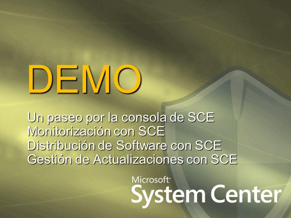 DEMO Un paseo por la consola de SCE Monitorización con SCE Distribución de Software con SCE Gestión de Actualizaciones con SCE