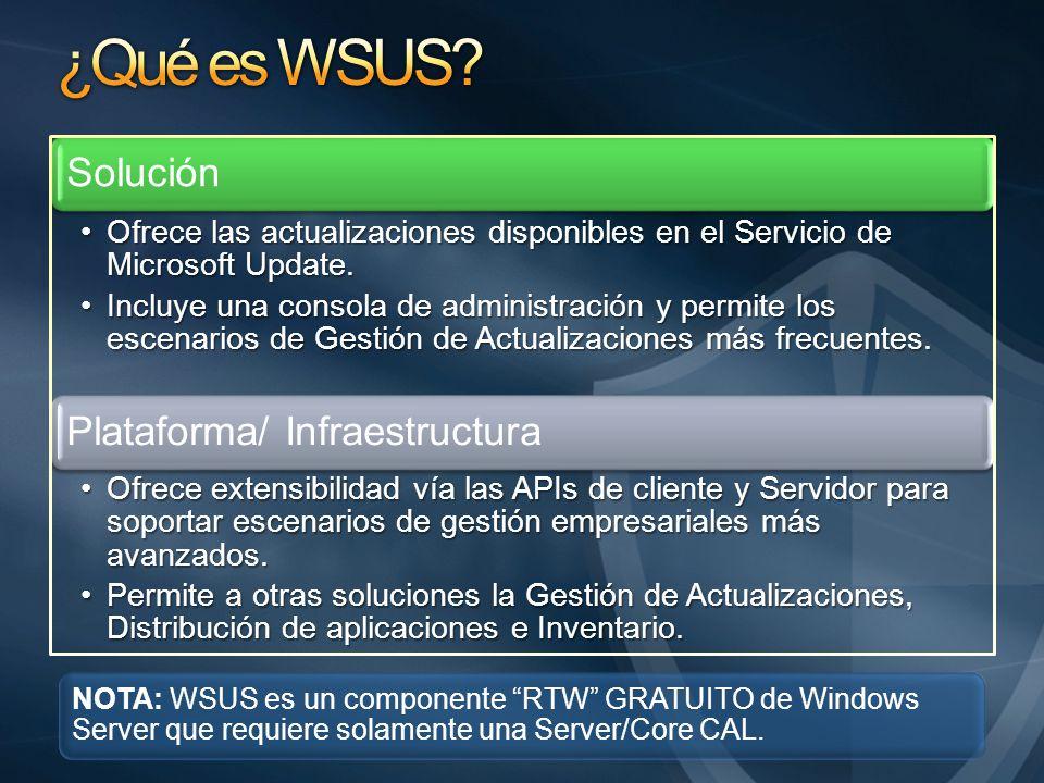 Solución Ofrece las actualizaciones disponibles en el Servicio de Microsoft Update.Ofrece las actualizaciones disponibles en el Servicio de Microsoft Update.