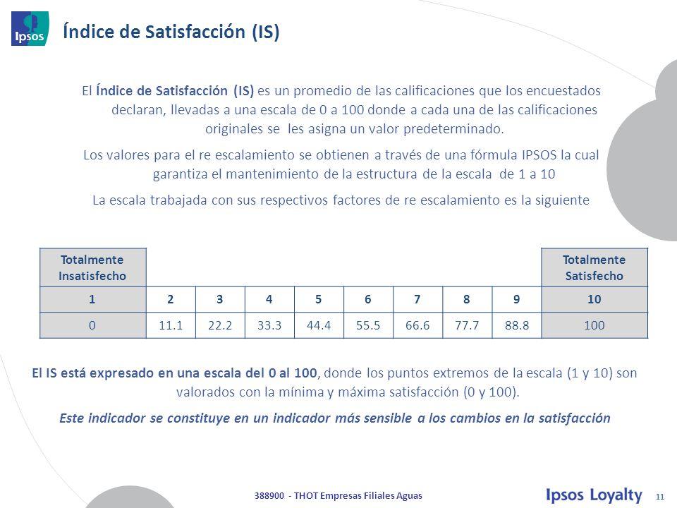 11 388900 - THOT Empresas Filiales Aguas El Índice de Satisfacción (IS) es un promedio de las calificaciones que los encuestados declaran, llevadas a una escala de 0 a 100 donde a cada una de las calificaciones originales se les asigna un valor predeterminado.