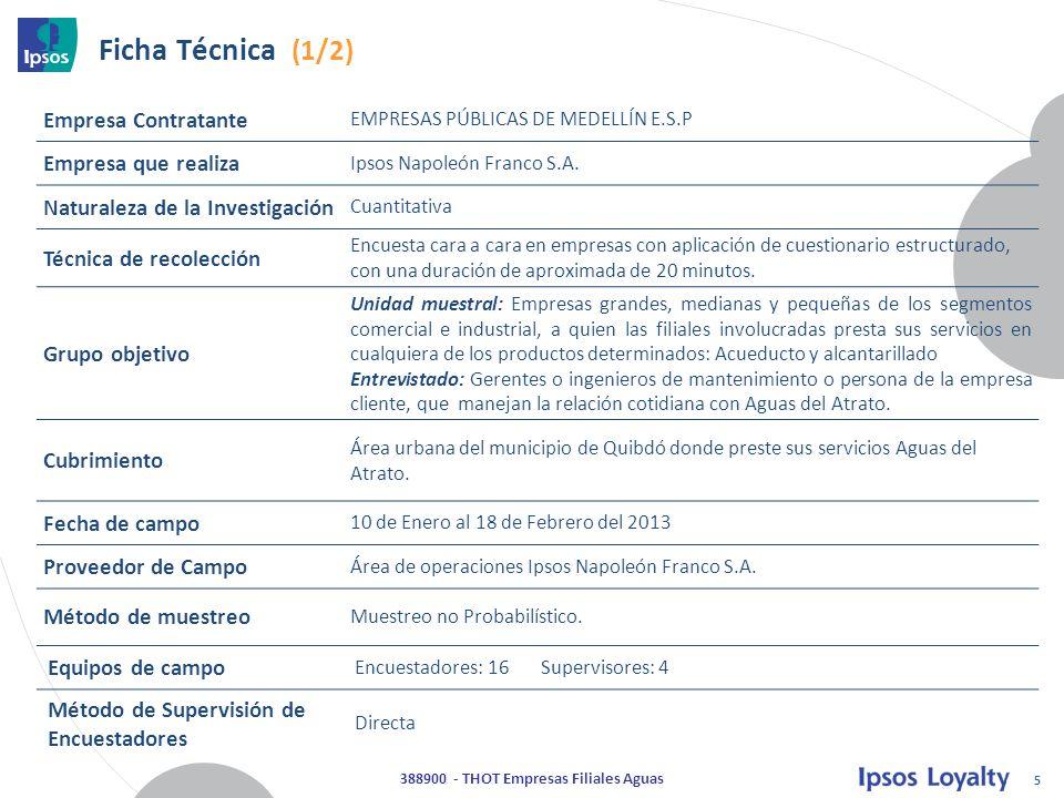 5 388900 - THOT Empresas Filiales Aguas Ficha Técnica (1/2) Empresa Contratante EMPRESAS PÚBLICAS DE MEDELLÍN E.S.P Empresa que realiza Ipsos Napoleón Franco S.A.
