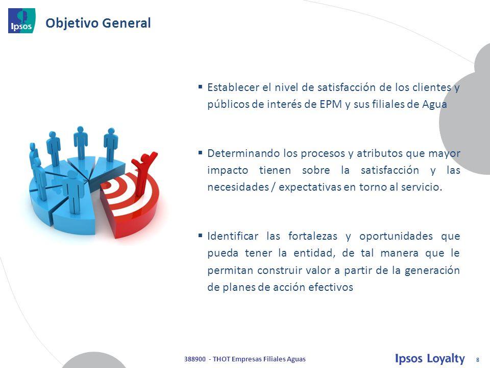 8 388900 - THOT Empresas Filiales Aguas Objetivo General  Establecer el nivel de satisfacción de los clientes y públicos de interés de EPM y sus filiales de Agua  Determinando los procesos y atributos que mayor impacto tienen sobre la satisfacción y las necesidades / expectativas en torno al servicio.