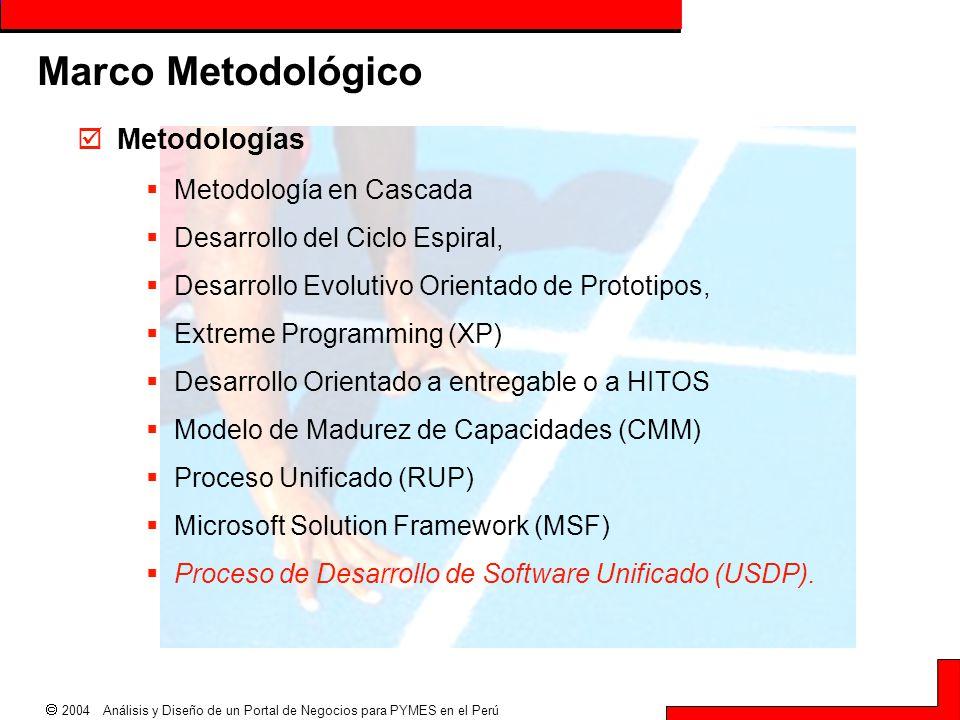  2004 Análisis y Diseño de un Portal de Negocios para PYMES en el Perú Marco Metodológico  Metodologías  Metodología en Cascada  Desarrollo del Ci