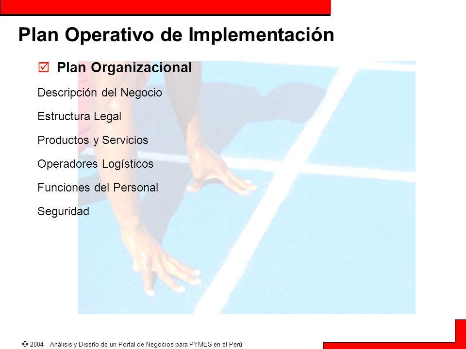  2004 Análisis y Diseño de un Portal de Negocios para PYMES en el Perú Plan Operativo de Implementación  Plan Organizacional Descripción del Negocio