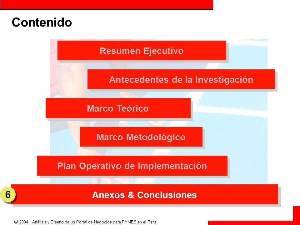  2004 Análisis y Diseño de un Portal de Negocios para PYMES en el Perú Resumen Ejecutivo Plan Operativo de Implementación Antecedentes de la Investig