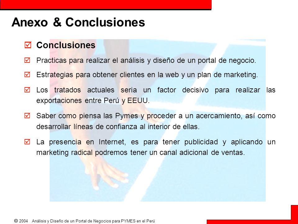  2004 Análisis y Diseño de un Portal de Negocios para PYMES en el Perú Anexo & Conclusiones  Conclusiones  Practicas para realizar el análisis y di
