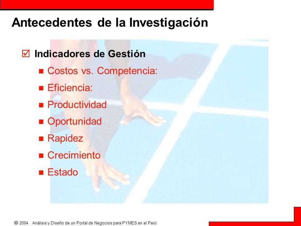  2004 Análisis y Diseño de un Portal de Negocios para PYMES en el Perú Antecedentes de la Investigación  Indicadores de Gestión Costos vs. Competenc