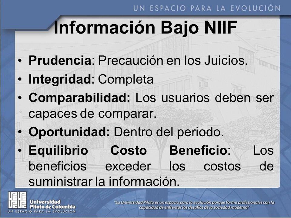 Información Bajo NIIF Prudencia: Precaución en los Juicios.