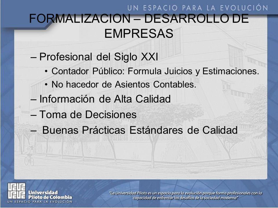 FORMALIZACION – DESARROLLO DE EMPRESAS –Profesional del Siglo XXI Contador Público: Formula Juicios y Estimaciones.