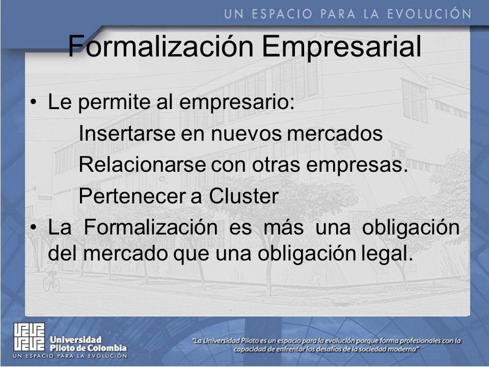 Formalización Empresarial Le permite al empresario: Insertarse en nuevos mercados Relacionarse con otras empresas.