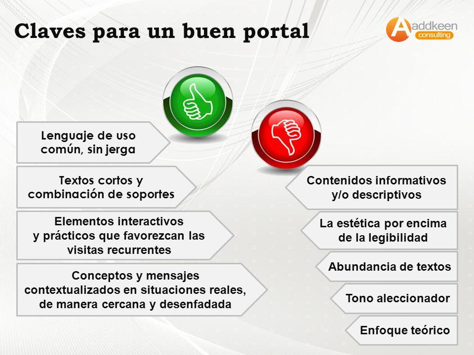 Textos cortos y combinación de soportes Elementos interactivos y prácticos que favorezcan las visitas recurrentes Conceptos y mensajes contextualizado