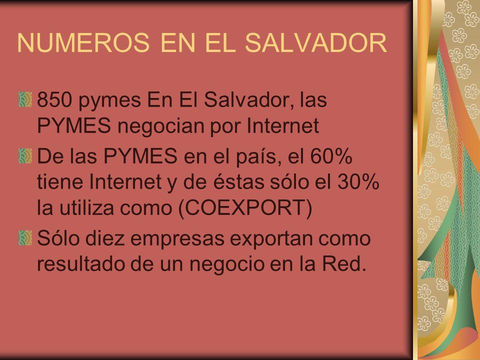 NUMEROS EN EL SALVADOR 850 pymes En El Salvador, las PYMES negocian por Internet De las PYMES en el país, el 60% tiene Internet y de éstas sólo el 30% la utiliza como (COEXPORT) Sólo diez empresas exportan como resultado de un negocio en la Red.