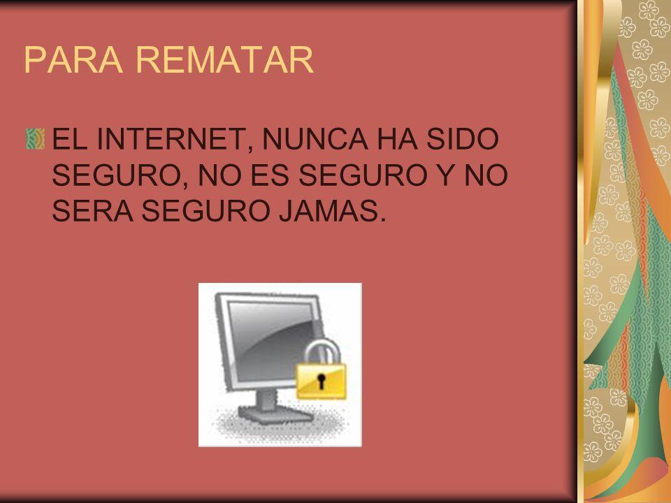 PARA REMATAR EL INTERNET, NUNCA HA SIDO SEGURO, NO ES SEGURO Y NO SERA SEGURO JAMAS.