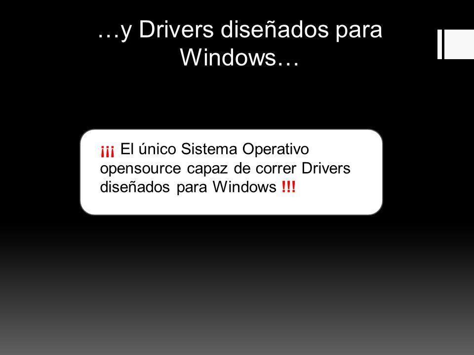 …y Drivers diseñados para Windows… ¡¡¡ El único Sistema Operativo opensource capaz de correr Drivers diseñados para Windows !!!
