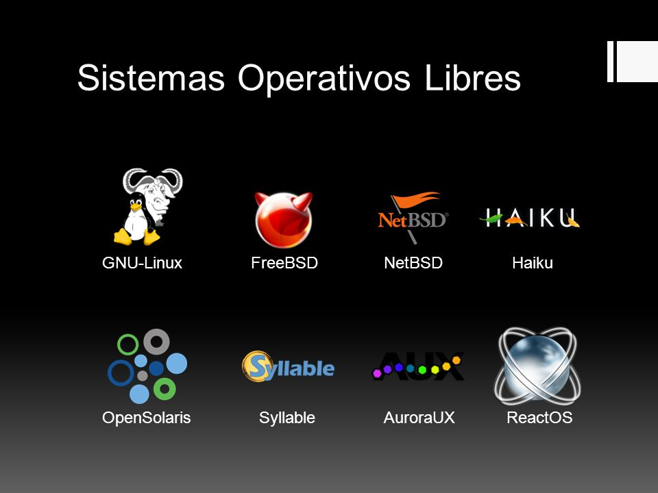 Sistemas Operativos Libres GNU-LinuxHaikuFreeBSDNetBSD OpenSolarisSyllableAuroraUXReactOS