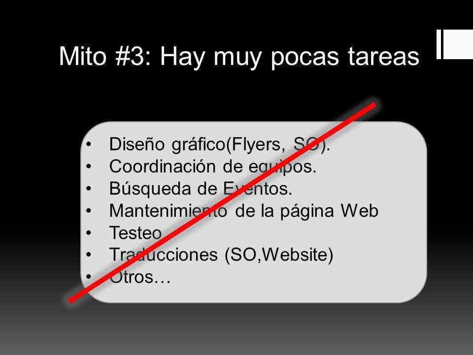 Mito #3: Hay muy pocas tareas Diseño gráfico(Flyers, SO).