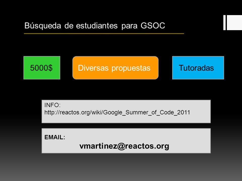 Búsqueda de estudiantes para GSOC 5000$Diversas propuestasTutoradas INFO: http://reactos.org/wiki/Google_Summer_of_Code_2011 EMAIL: vmartinez@reactos.org