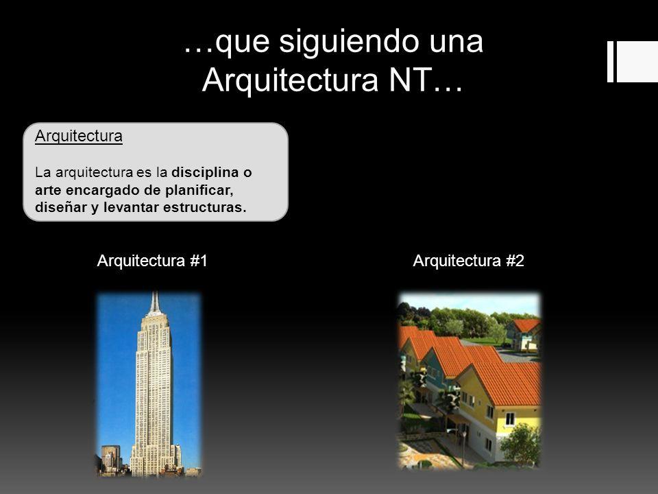 …que siguiendo una Arquitectura NT… Arquitectura La arquitectura es la disciplina o arte encargado de planificar, diseñar y levantar estructuras.