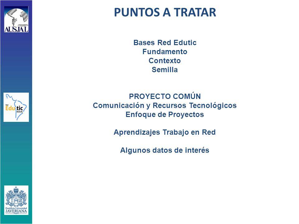 PUNTOS A TRATAR Bases Red Edutic Fundamento Contexto Semilla PROYECTO COMÚN Comunicación y Recursos Tecnológicos Enfoque de Proyectos Aprendizajes Trabajo en Red Algunos datos de interés