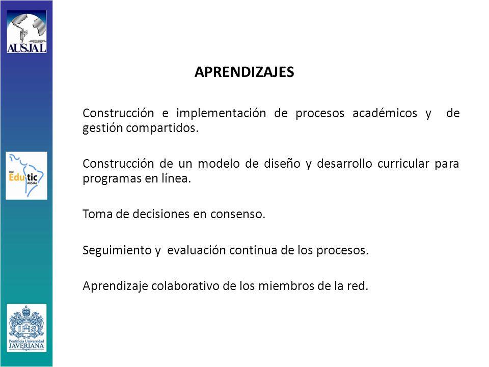 APRENDIZAJES Construcción e implementación de procesos académicos y de gestión compartidos.