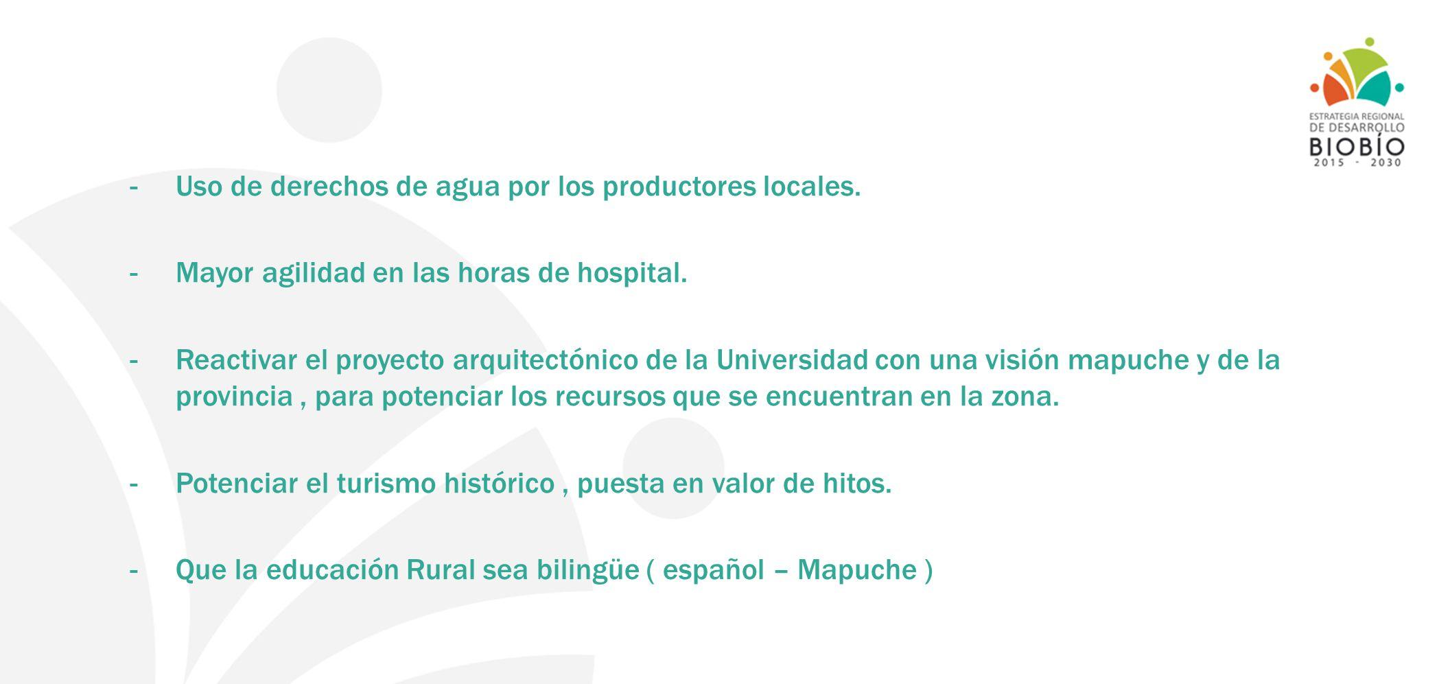 - Uso de derechos de agua por los productores locales. -Mayor agilidad en las horas de hospital. -Reactivar el proyecto arquitectónico de la Universid