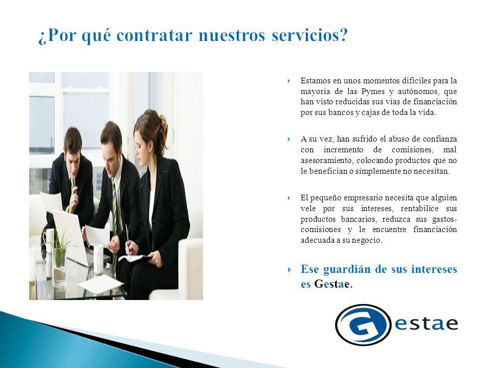  Gestae es una sociedad formada por un equipo multidisciplinar de profesionales de gestión financiera- bancaria y de servicios a empresas y autónomos.
