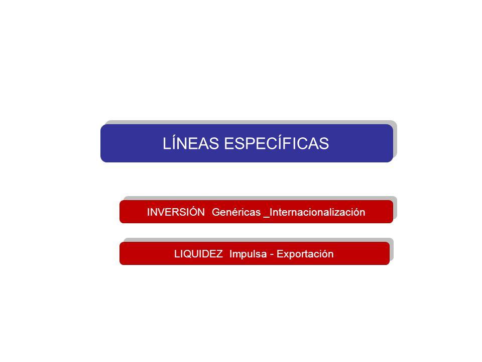 LÍNEAS ESPECÍFICAS INVERSIÓN Genéricas _Internacionalización LIQUIDEZ Impulsa - Exportación