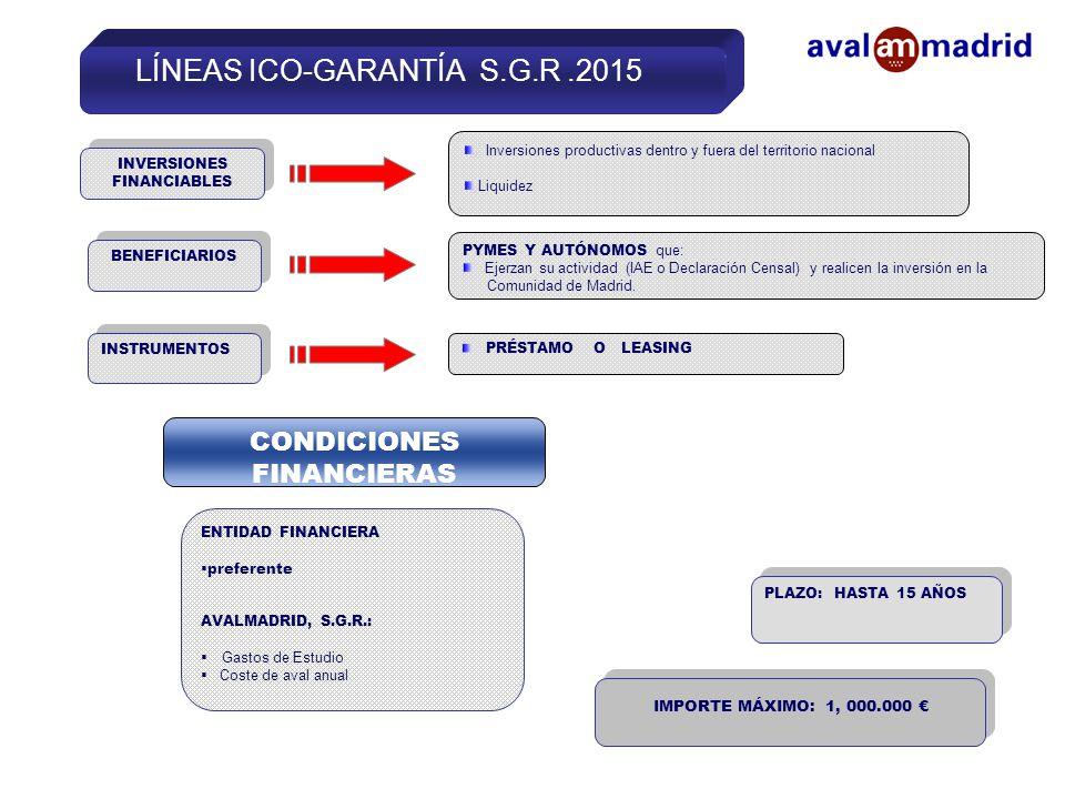 LÍNEAS ICO-GARANTÍA S.G.R.2015 ENTIDAD FINANCIERA  preferente AVALMADRID, S.G.R.:  Gastos de Estudio  Coste de aval anual BENEFICIARIOS INVERSIONES FINANCIABLES Inversiones productivas dentro y fuera del territorio nacional Liquidez PYMES Y AUTÓNOMOS que: Ejerzan su actividad (IAE o Declaración Censal) y realicen la inversión en la Comunidad de Madrid.