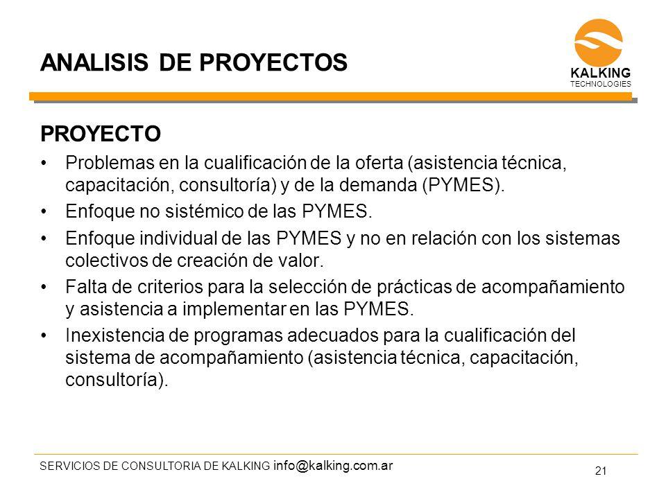 info@kalking.com.ar ANALISIS DE PROYECTOS PROYECTO Problemas en la cualificación de la oferta (asistencia técnica, capacitación, consultoría) y de la demanda (PYMES).