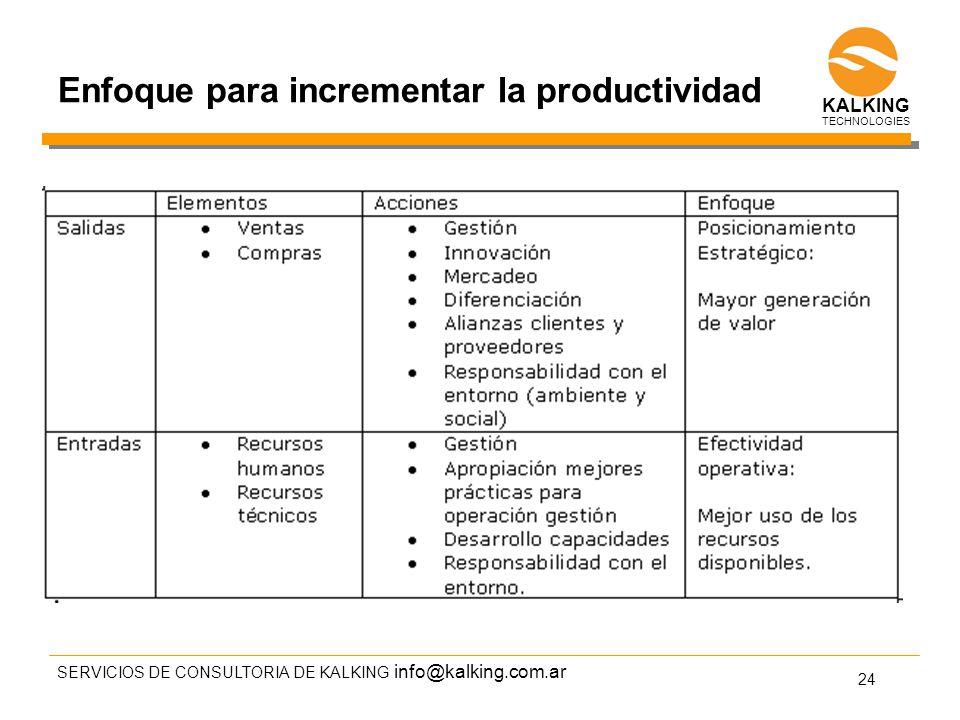 info@kalking.com.ar Enfoque para incrementar la productividad SERVICIOS DE CONSULTORIA DE KALKING 24 TECHNOLOGIES KALKING