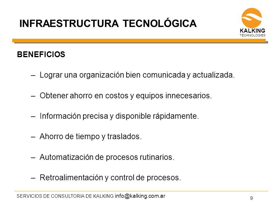 info@kalking.com.ar SERVICIOS DE CONSULTORIA DE KALKING 9 TECHNOLOGIES INFRAESTRUCTURA TECNOLÓGICA BENEFICIOS –Lograr una organización bien comunicada y actualizada.
