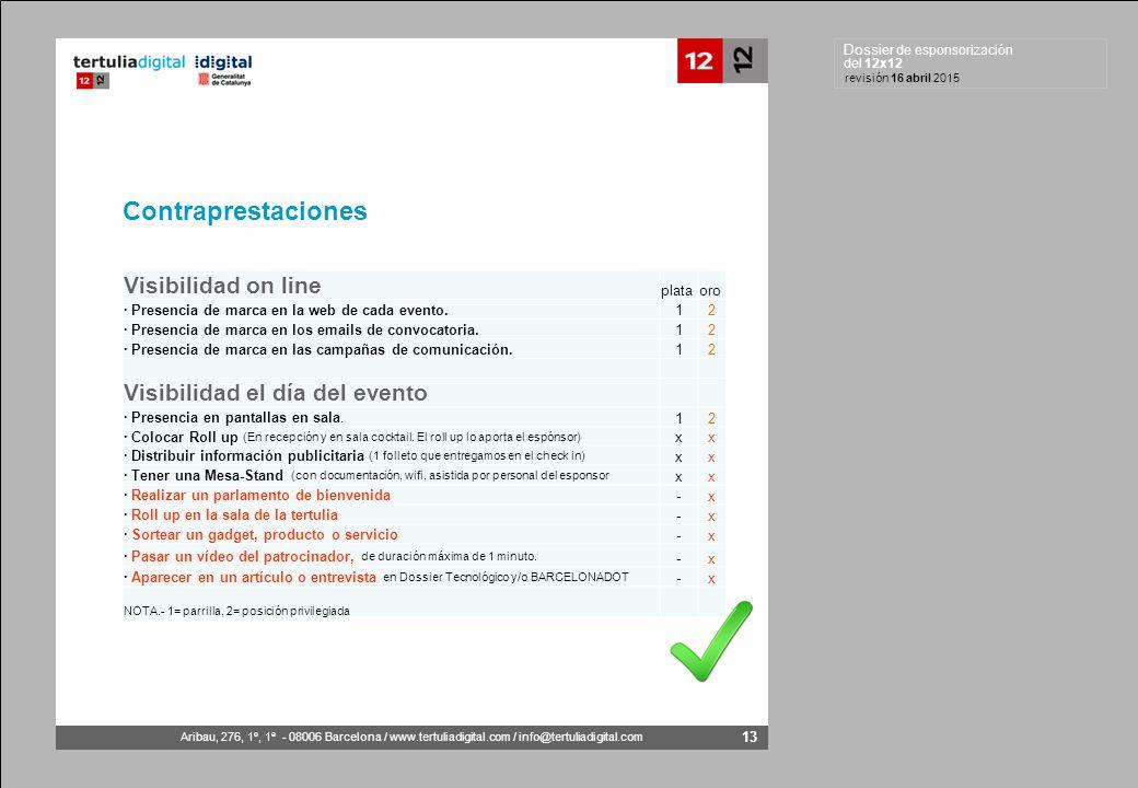 Dossier de esponsorización del 12x12 Aribau, 276, 1º, 1ª - 08006 Barcelona / www.tertuliadigital.com / info@tertuliadigital.com revisión 16 abril 2015 13 Contraprestaciones Visibilidad on line plataoro · Presencia de marca en la web de cada evento.