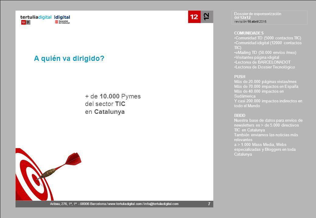 Dossier de esponsorización del 12x12 Aribau, 276, 1º, 1ª - 08006 Barcelona / www.tertuliadigital.com / info@tertuliadigital.com revisión 16 abril 2015