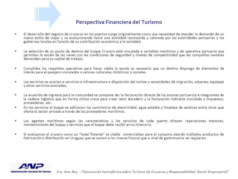 """Cra. Ana Rey -""""Convención hemisférico sobre Turismo de Cruceros y Responsabilidad Social Empresarial"""" Perspectiva Financiera del Turismo El desarrollo"""