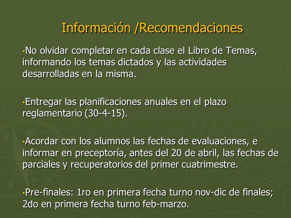 Información /Recomendaciones Información /Recomendaciones No olvidar completar en cada clase el Libro de Temas, informando los temas dictados y las actividades desarrolladas en la misma.