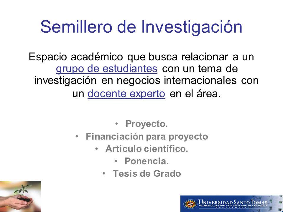 Semillero de Investigación Espacio académico que busca relacionar a un grupo de estudiantes con un tema de investigación en negocios internacionales con un docente experto en el área.