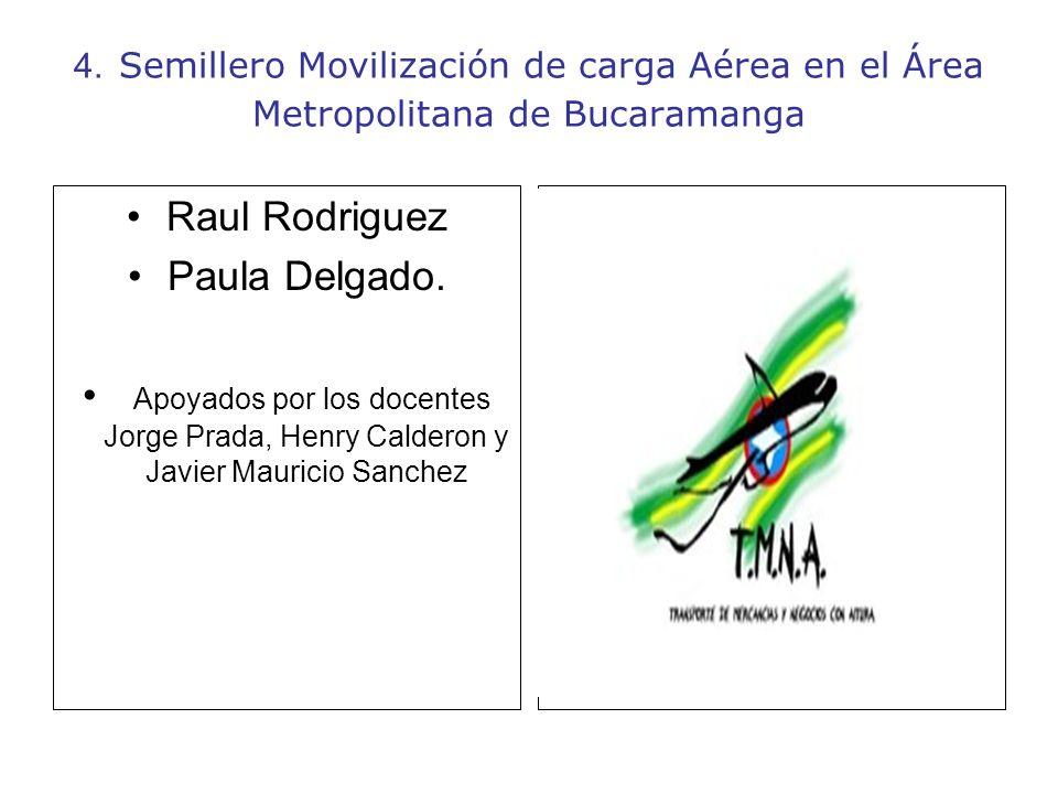 4. Semillero Movilización de carga Aérea en el Área Metropolitana de Bucaramanga Raul Rodriguez Paula Delgado. Apoyados por los docentes Jorge Prada,