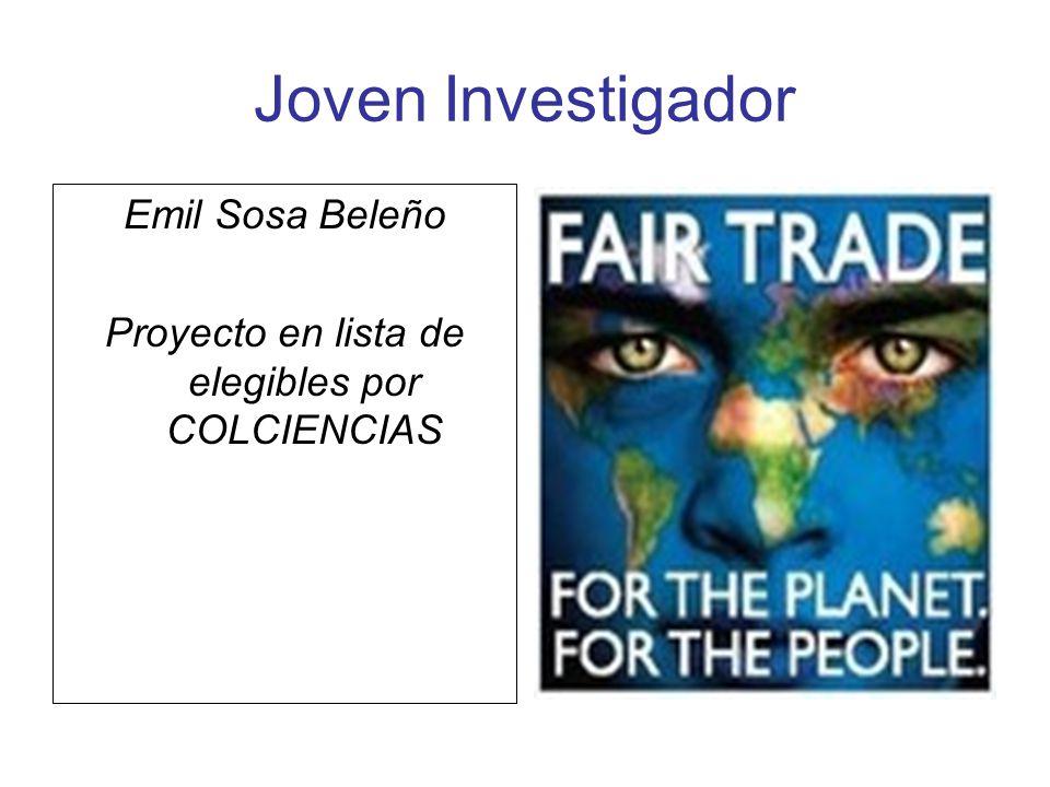 Joven Investigador Emil Sosa Beleño Proyecto en lista de elegibles por COLCIENCIAS