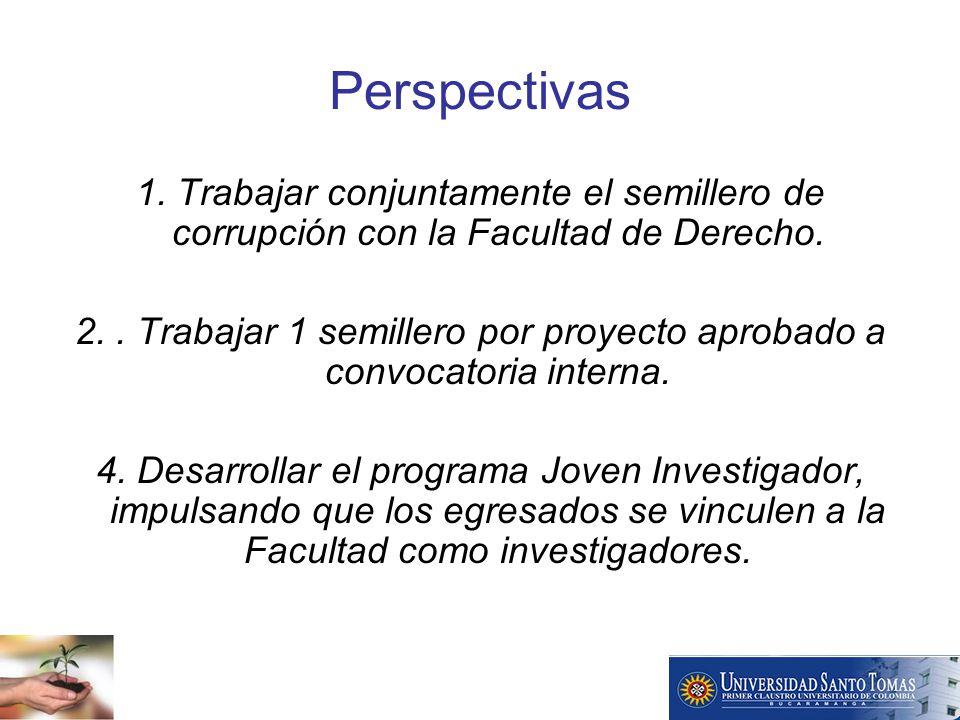 Perspectivas 1. Trabajar conjuntamente el semillero de corrupción con la Facultad de Derecho.
