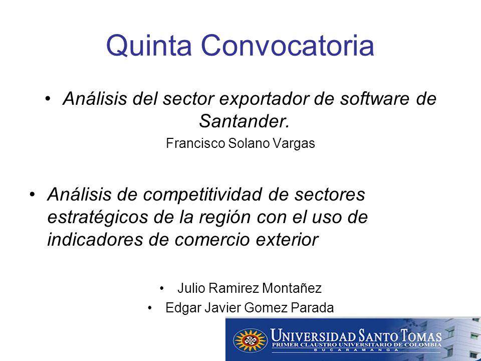 Quinta Convocatoria Análisis del sector exportador de software de Santander.