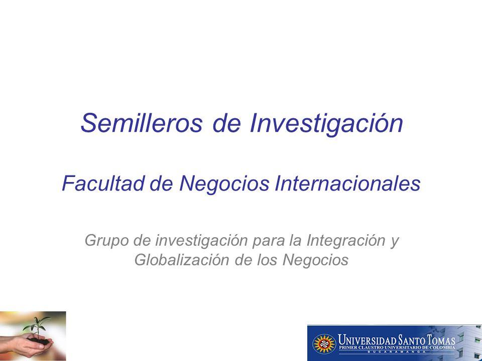 Semilleros de Investigación Facultad de Negocios Internacionales Grupo de investigación para la Integración y Globalización de los Negocios