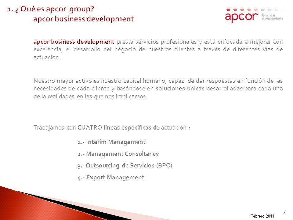 MADOFF-009003 4 apcor business development presta servicios profesionales y está enfocada a mejorar con excelencia, el desarrollo del negocio de nuestros clientes a través de diferentes vías de actuación.