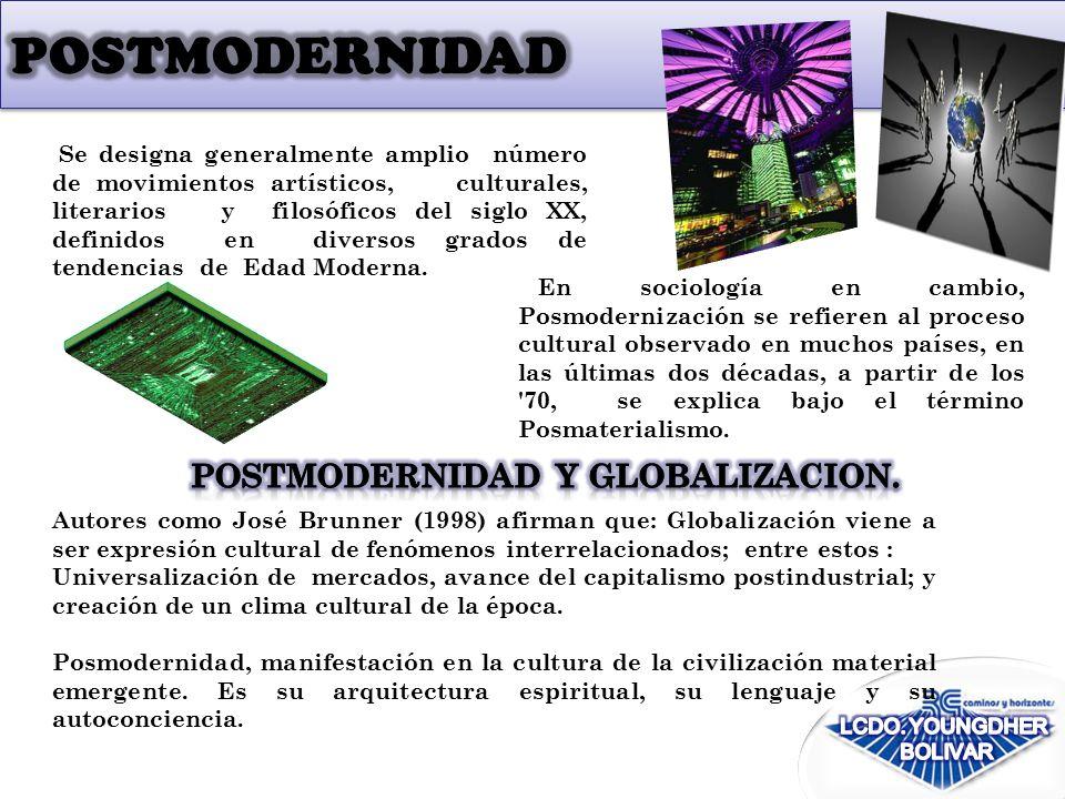En sociología en cambio, Posmodernización se refieren al proceso cultural observado en muchos países, en las últimas dos décadas, a partir de los 70, se explica bajo el término Posmaterialismo.